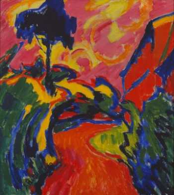 Photograph of a painting by the German Expressionist, Karl Schmidt-Rottluff.
