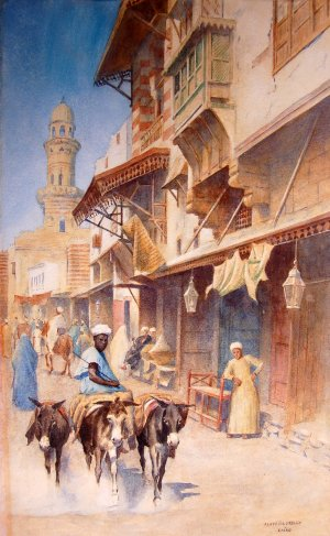 Photograph of a Cairo watercolour by the Irish artist, Aloysius O�Kelly
