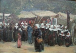 Photograph of a Breton painting by the Irish artist, Aloysius O�Kelly
