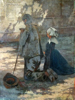 Photograph of a Breton painting by the Irish artist, Augustus Burke.