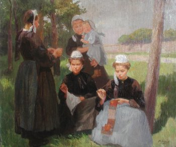 Photograph of a Breton painting by the French artist, Paul Gr�goire.