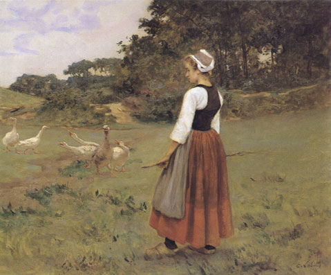 Photograph of a Breton a painting by the French artist, Eug�ne L�on Labitte.