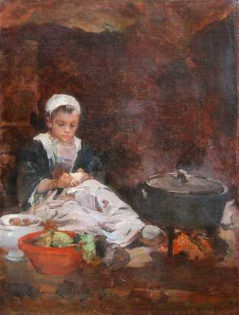 Photograph of a Breton painting by Marie-Aimée Lucas-Robiquet.