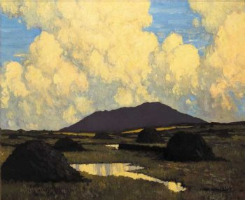 Bog at Evening: photograph of a painting by the Irish artist, Paul Henry.