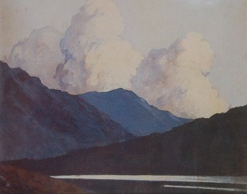 Killary Harbour, photograph of a painting by Paul Henry.