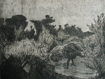Photograph of an etching by the Irish artist, Roderic O�Conor